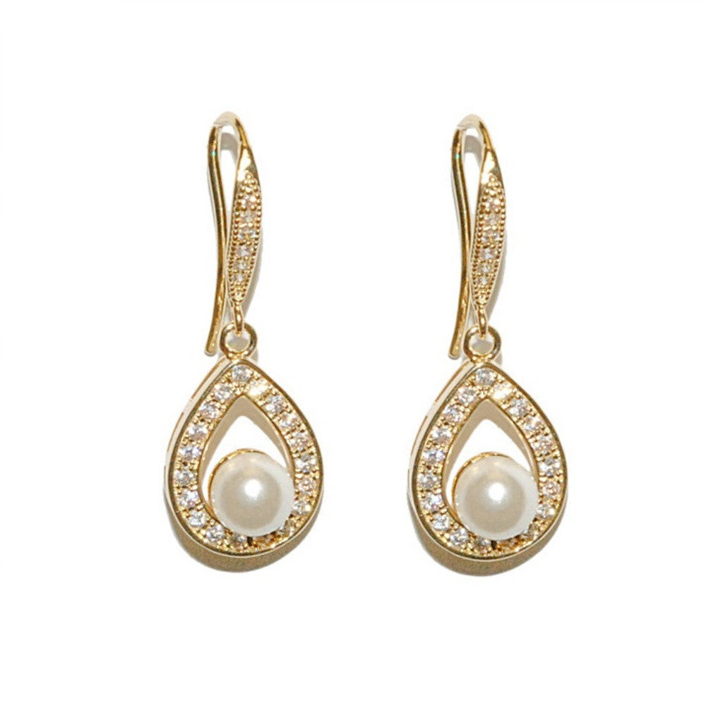gold pearl and crystal drop wedding earrings
