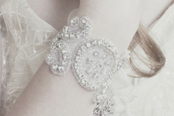 Grace delicate vintage crystal wedding cuff