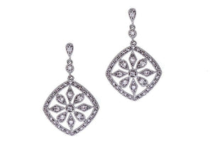 Grace crystal droplet marcasite style wedding earrings