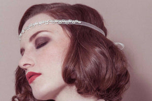 Greta vintage deco rhinestone ribbon tie wedding headband