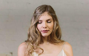 Haillie gold rustic bridal halo circlet wedding hair accessory