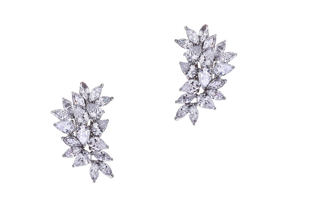 Hattie statement clip-on and pierced crystal wedding earrings