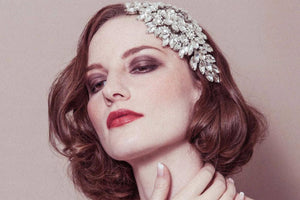 Hattie dramatic deco crystal rhinestone wedding headpiece