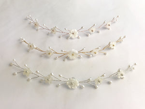 Small pearl flower bridal hair vine in gold silver or rose gold - Phoebe