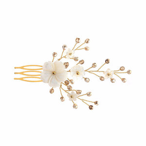 Imogen gold crystal and mother of pearl flower wedding comb