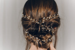Plait hairvine in gold Swarovski crystal - India Y hairvine