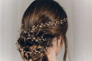 Plait hair vine in gold Swarovski crystal - India Y hair vine