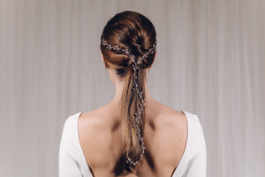 Rose gold Swarovski crystal and freshwater pearl plait wedding hair vine - India Y hairvine