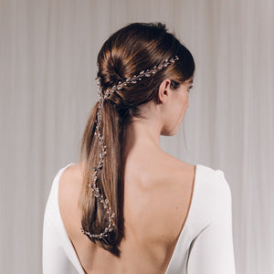 Rose gold Swarovski crystal and freshwater pearl plait wedding hairvine - India Y hairvine