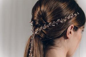 Rose gold Swarovski crystal plait hairvine - India Y hair vine
