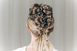 Silver Swarovski crystal plait hair vine - India Y hair vine