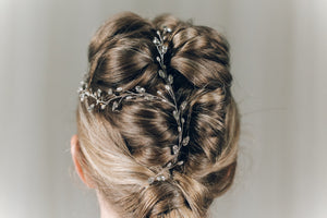 Silver Swarovski crystal plait hairvine - India Y hair vine