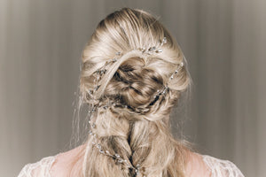 Plait hair vine in silver Swarovski crystal - India Y hair vine