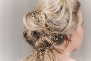 Swarovski crystal plait hairvine in gold - India Y hairvine