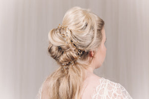 Swarovski crystal plait hairvine in gold - India Y hair vine
