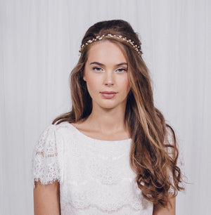 Rose gold, silver or gold Swarovski crystal wedding headband browband - India