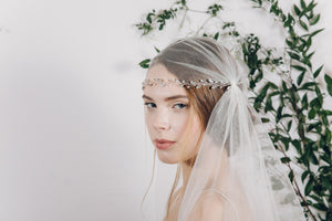 Crystal and pearl wedding forehead band with Juliet Cap veil