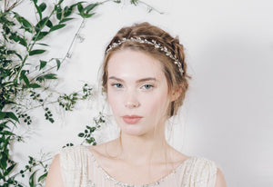 Delicate crystal and pearl wedding ribbon tie tiara