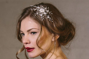 Iris floral crystal and mother of pearl wedding hair accessory