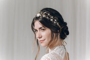 Bohemian gold crown intertwined woven bridal hairvine - Katarina