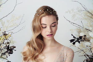 Gold Swarovski star celestial bridal hairvine Larissa Moonlight Collection