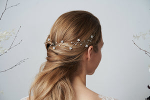 Silver Swarovski star bridal hairvine Larissa Moonlight Collection