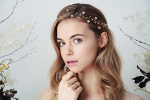 Swarovski star celestial modern boho wedding headband hair vine in gold