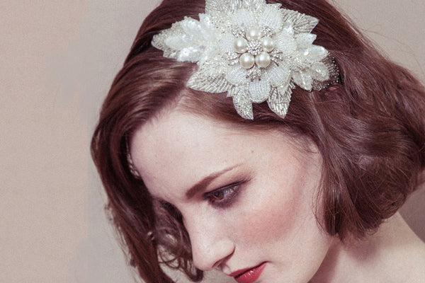 Lily statement pearl flower wedding headband