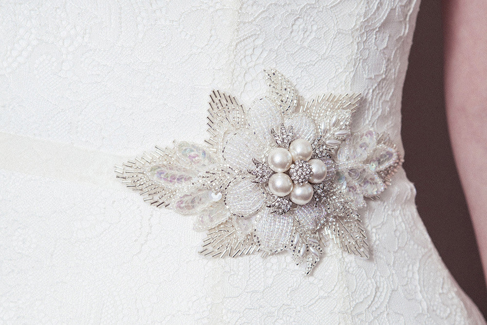 Lily statement pearl flower beaded wedding belt