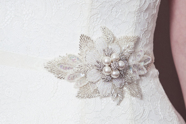 Lily beaded pearl silver and ivory flower wedding sash