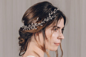 Modern boho Swarovski Crystal silver leafy long wedding hair vine - Lily