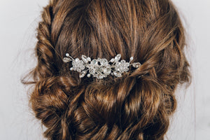 Crystal and pearl up do wedding hair comb