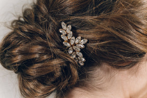 Vintage style Swarovski crystal bridal hair comb in opal, silver, rose gold or gold - Luna