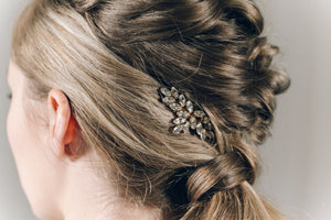 Vintage style Swarovski crystal wedding hair comb in gold - Luna