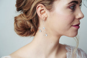 Silver Lunaria Swarovski Crystal star wedding earrings by Debbie Carlisle Moonlight collection
