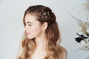Gold Lunaria constellation wedding hairpins and earrings set by Debbie Carlisle