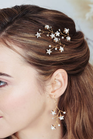 Lunaria Swarovski Crystal star cluster hairpins trio and earrings set by debbiecarlisle.com