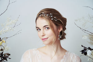 Silver Lunaria Swarovski Crystal star bridal hairpins set and earrings set worn with soft up do