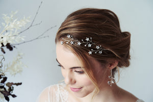 Silver Lunaria Swarovski Crystal celestial hairpins and earrings set