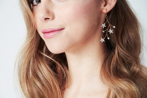Lunaria Swarovski Crystal star cluster gold earrings
