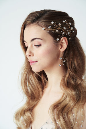 Gold Lunaria Swarovski Crystal star cluster earrings worn with Lunella hairvine
