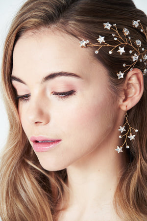 Swarovski Crystal star drop earrings Lunaria worn with Lunella hairvine