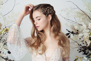 Gold Swarovski Crystal star cluster hairvine Lunella worn with soft waves