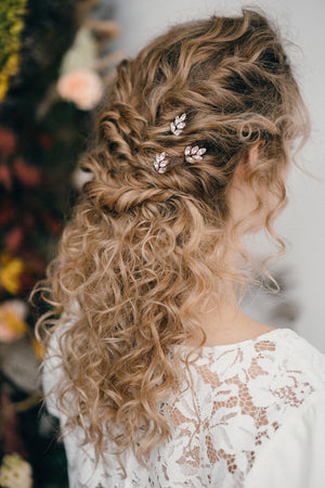 Rose gold crystal wedding hairpins