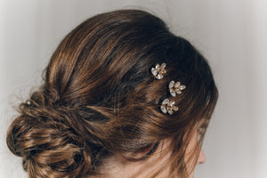 Swarovski crystal bridal hair pin trio in two tone gold - Lyra