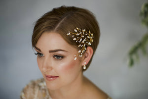 Large rose gold, silver or gold Swarovski crystal wedding hairpins trio - Maisie