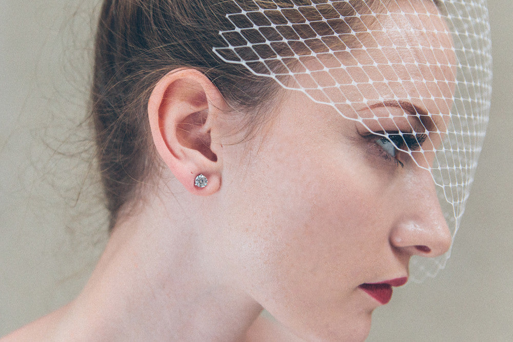 Margot silver simple round crystal wedding studs