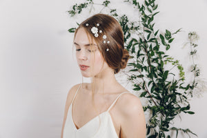 Bridal floral mother of pearl hair pins in gold, silver or rose gold - Minna