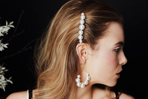 Mona Swarovski Pearl bridal hair comb with Mona earrings by Debbie Carlisle