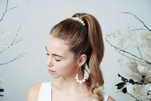 Swarovski Pearl statement hair comb Mona worn with high ponytail